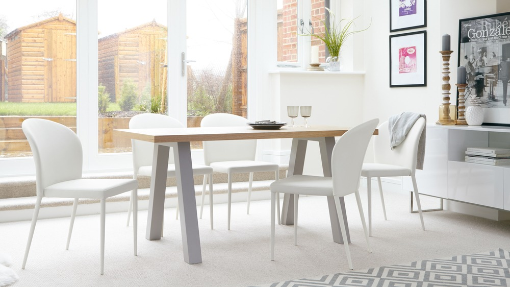 White Dining Chairs and 6 Seater Dining Table