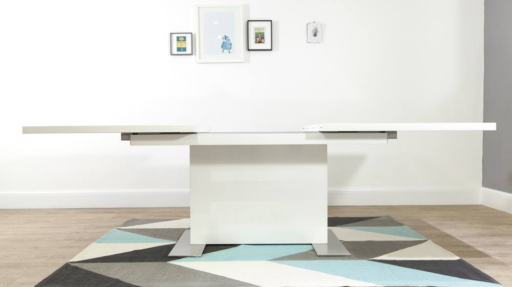 Large Extending White Gloss Dining Table