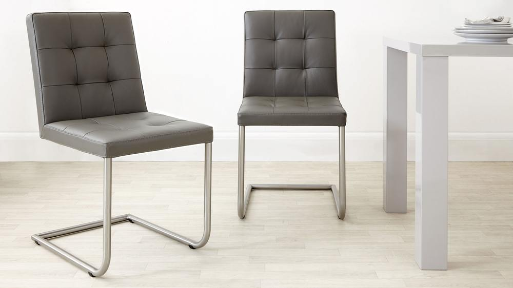 Modern Grey Real Leather Cantilever Dining Chairs