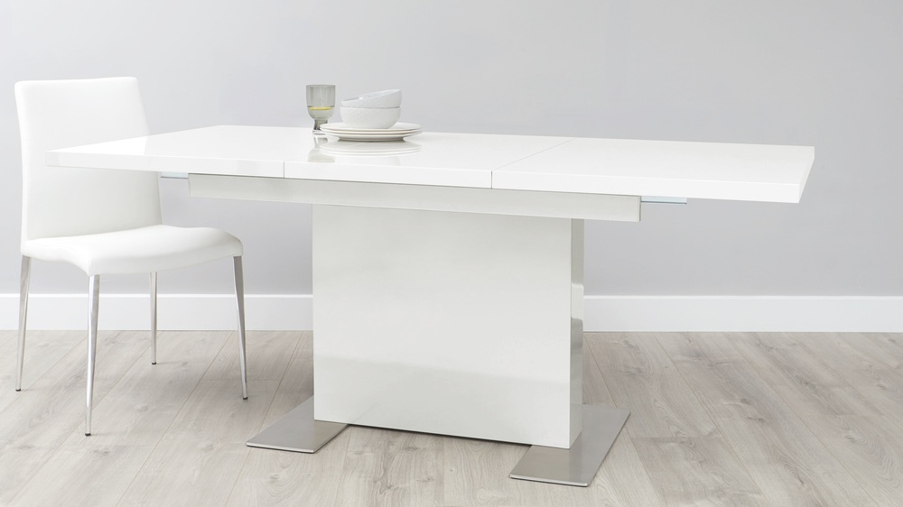 Large extending white gloss modern kitchen table