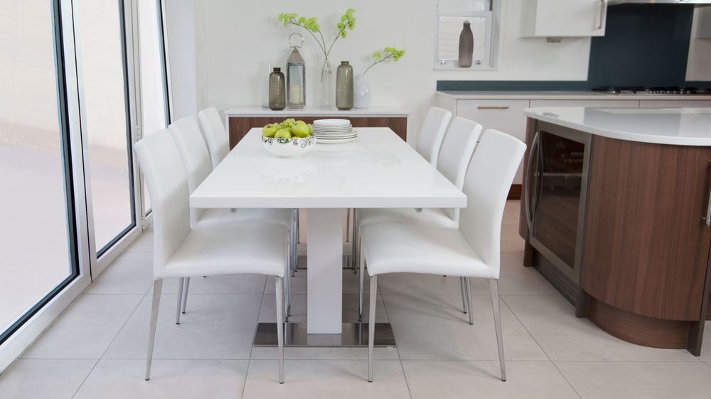 Large White Gloss Extending Dining Set