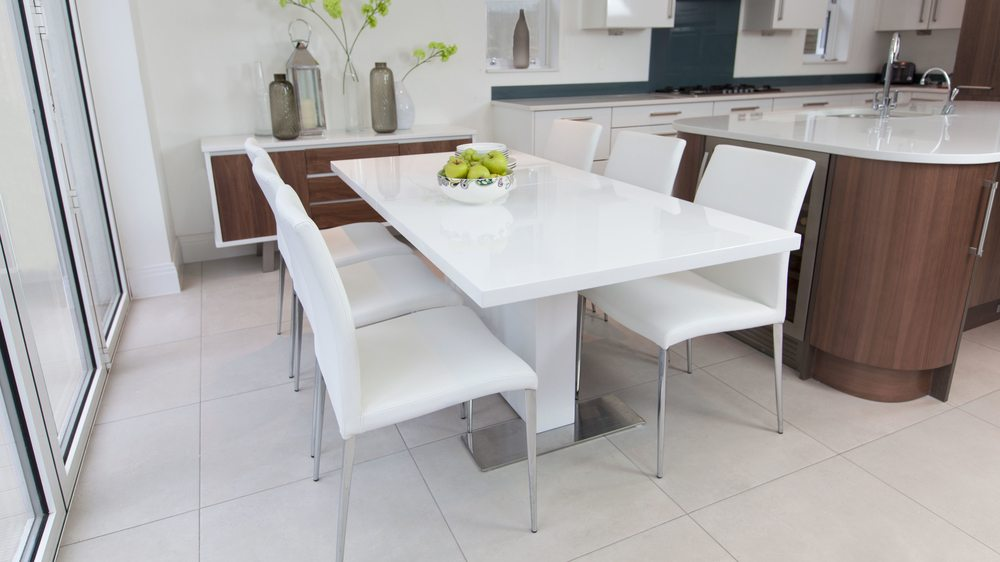 4-8 Seater White Gloss Dining Set