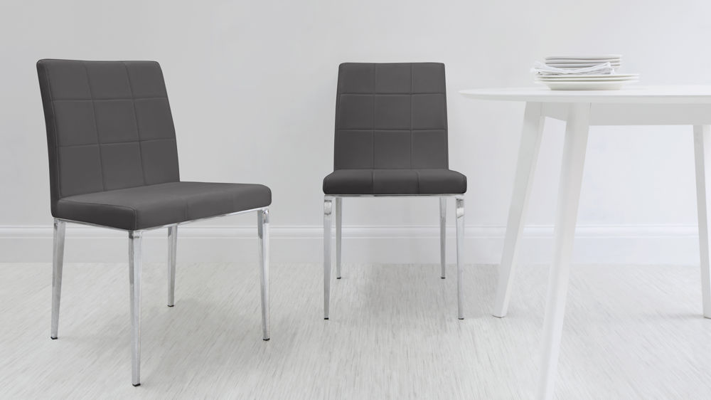 Dark Grey and Chrome Dining Chairs