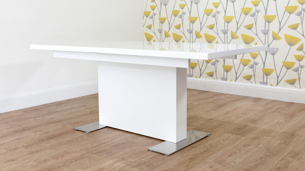 Mid-Century Modern White Gloss and Chrome Extending Dining Table