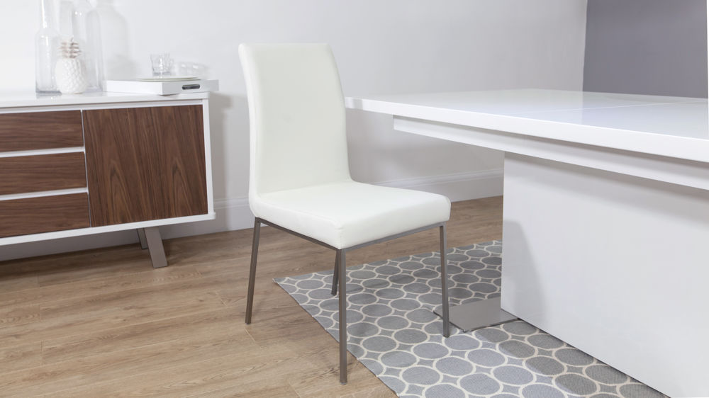 White Dining Chairs and White Gloss Extending Dining Table