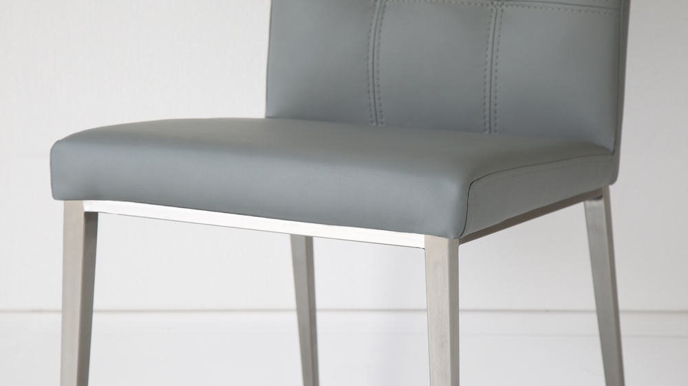 Comfortable Grey and Brushed Metal Dining Chairs