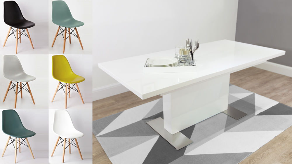 Mid Century Modern White Gloss and Eames Dining Set