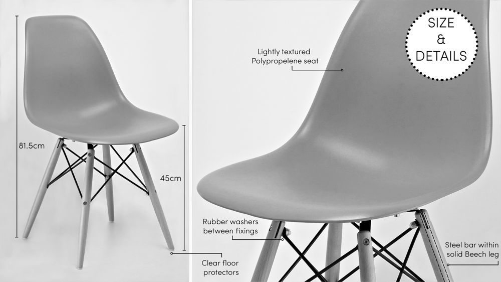 Plastic Eames Dining Chair with Wooden Legs