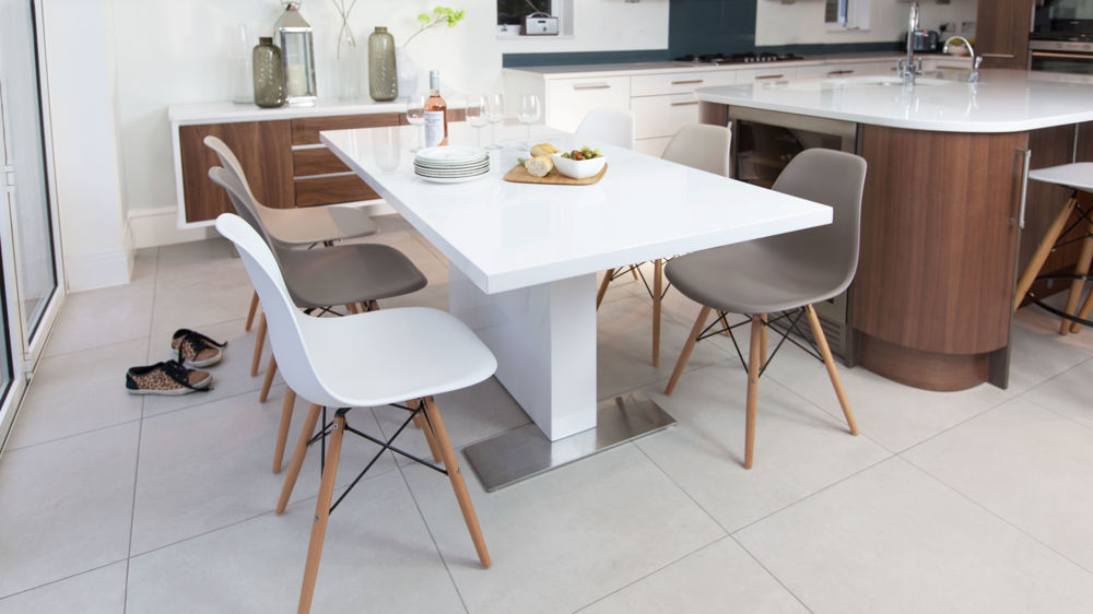 Contemporary White Gloss Extending Dining Table and Eames Chairs