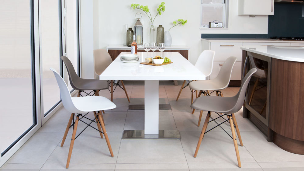 Eames and White Gloss Extending Dining Set Under £700
