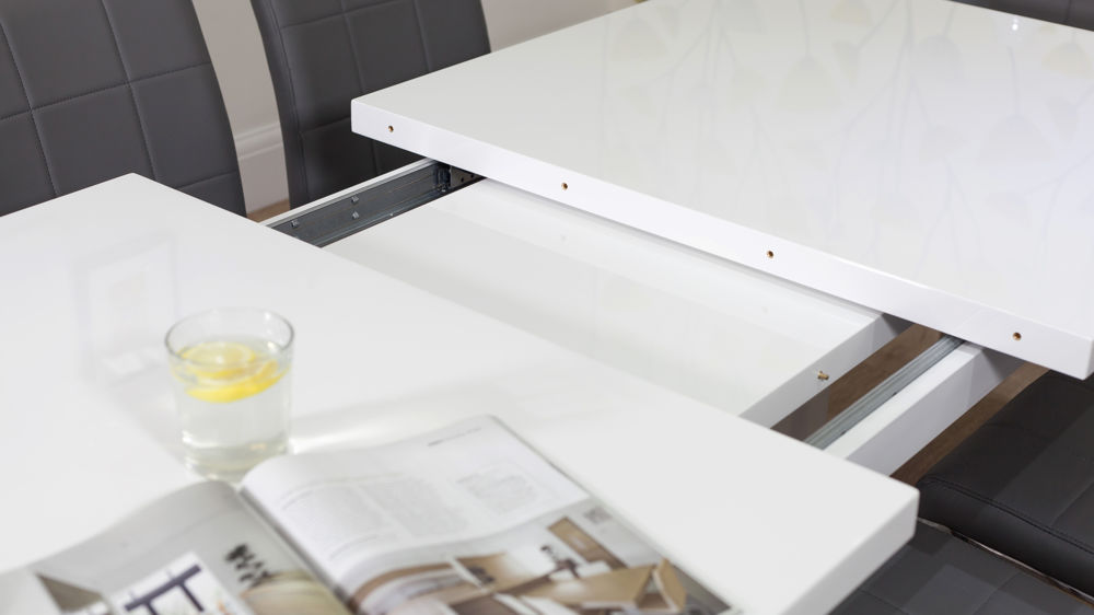 White Gloss Extending Dining Table UK Delivery