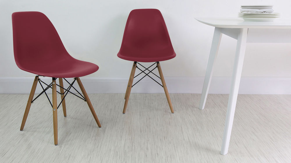 Red Eames Chair with Wooden Legs