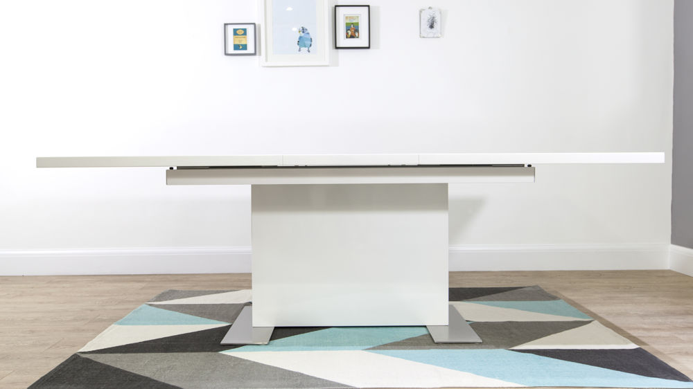 Large White Gloss and Brushed Metal Dining Table