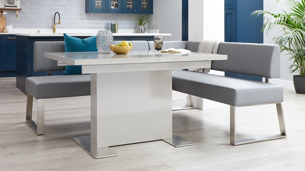Grey gloss extending dining sets