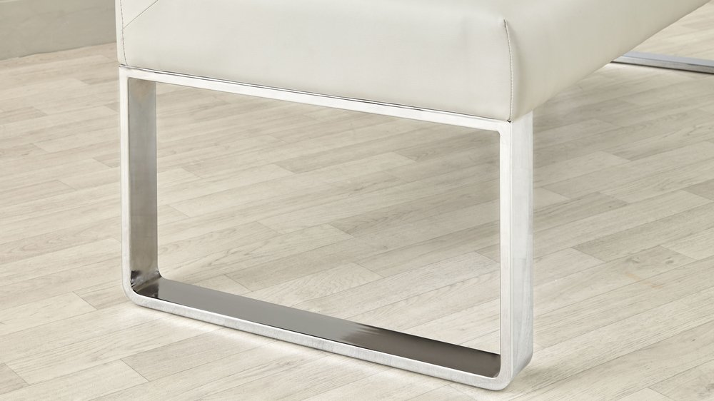 Chrome dining bench set with extendable dining table