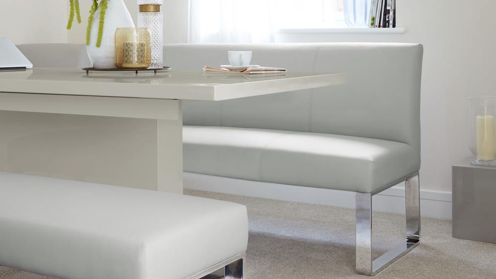 Grey gloss extending table and faux leather bench set