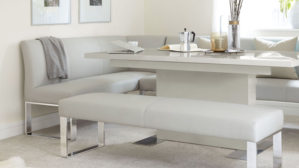 Right Hand Grey Gloss Extending Table And Dining Bench Set