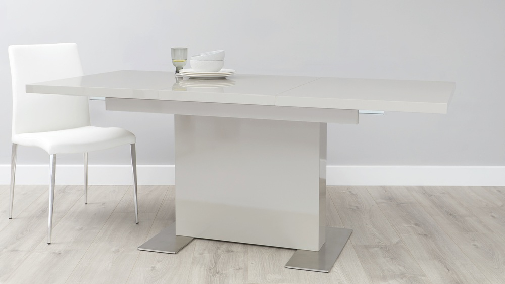 Grey gloss extending dining table