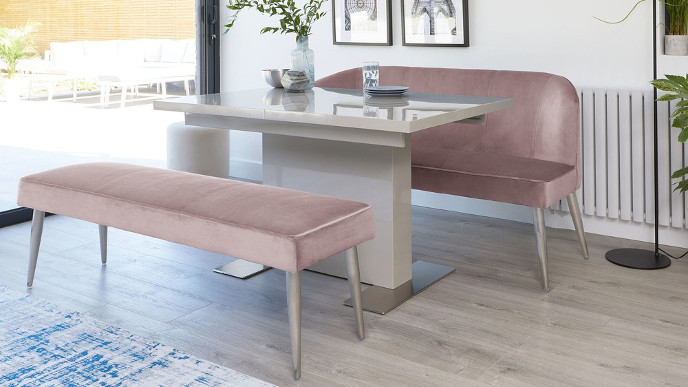 Brilliant Sanza Grey Gloss And Mellow Blush Velvet Bench Dining Set Alphanode Cool Chair Designs And Ideas Alphanodeonline