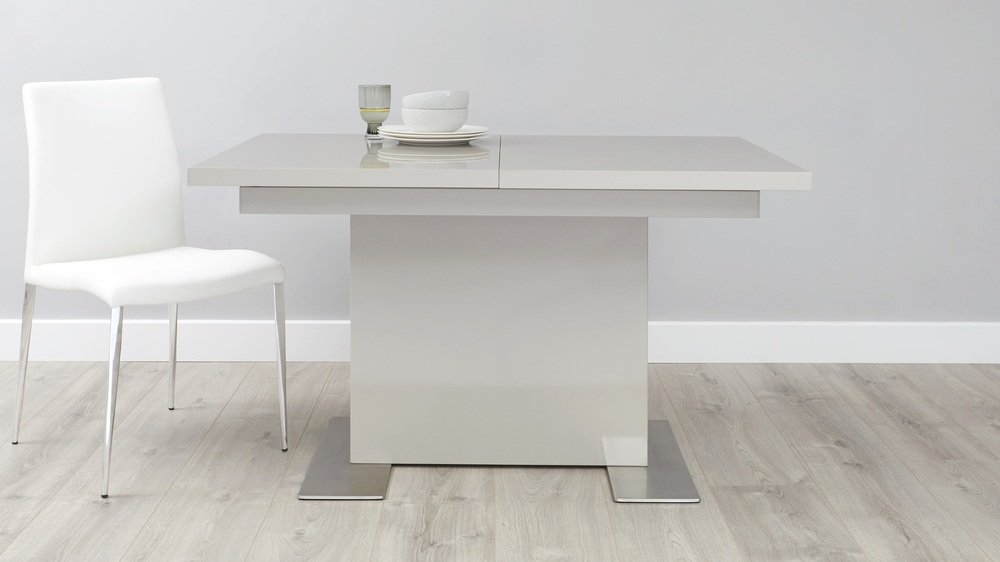 Grey gloss and chrome extending dining table