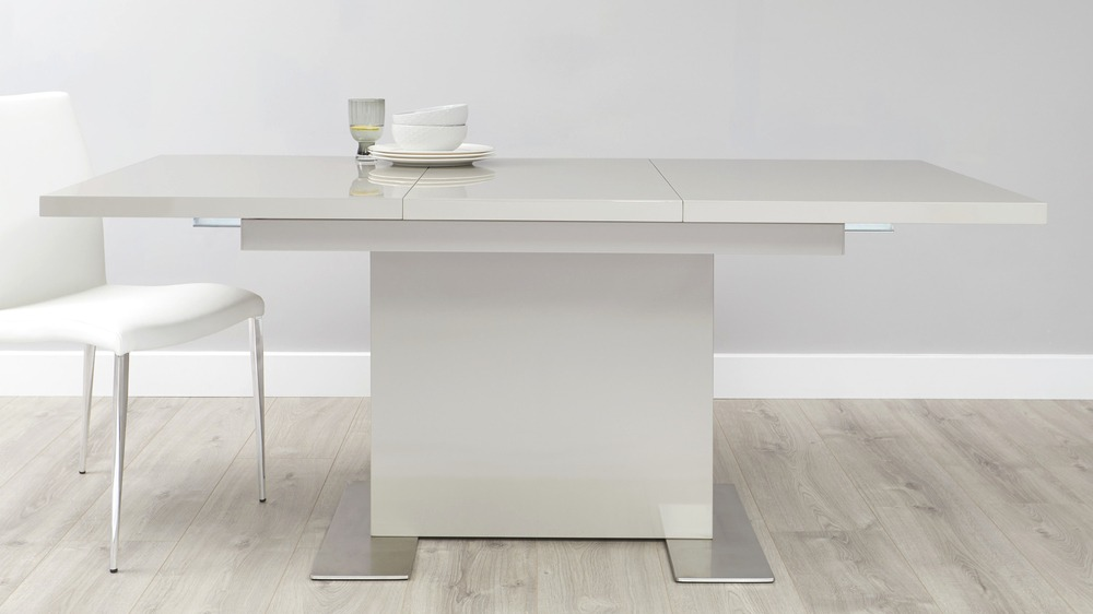 Grey gloss extending dining table sets