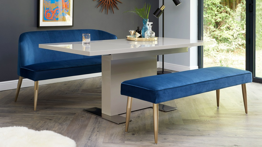 Sanza grey gloss velvet dining bench set