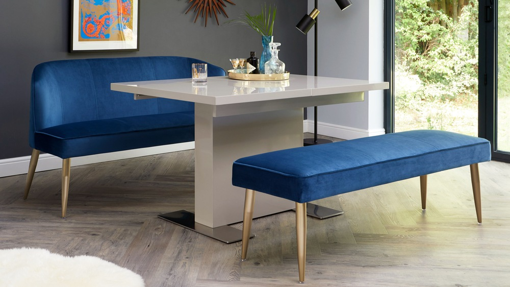 Small grey gloss extending dining table with velvet set