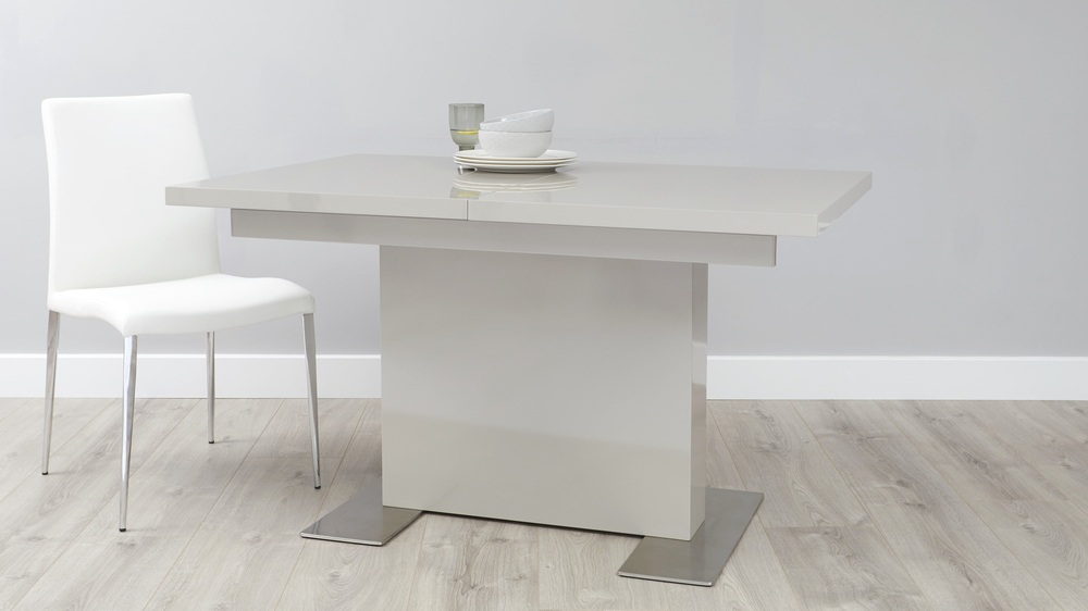 Grey gloss large extending dining table danetti