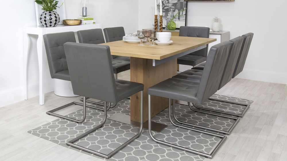 leather and oak extending dining set UK Delivery