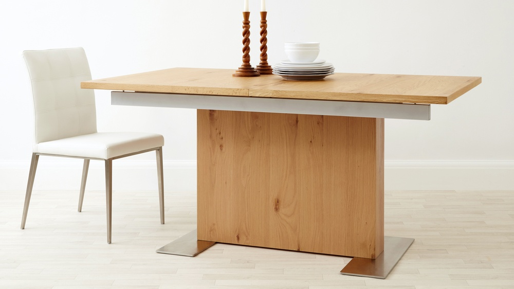 Oak pedestal extending dining table