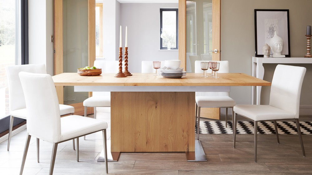 Modern Wooden Extending Dining Table Contemporary Oak
