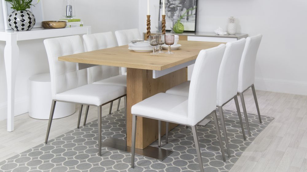 Buy modern oak extending dining table