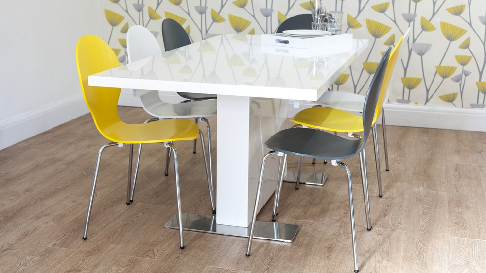 Stylish White Gloss Dining Table and Modern Dining Chairs UK