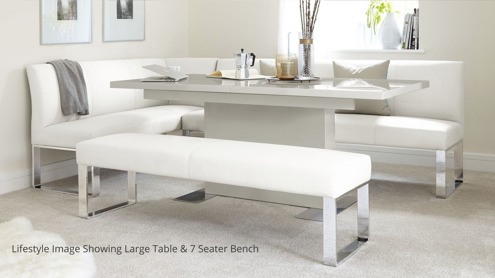 White faux leather bench