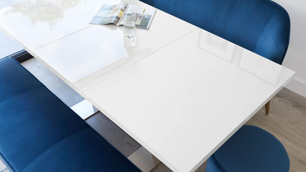 White gloss extending kitchen table