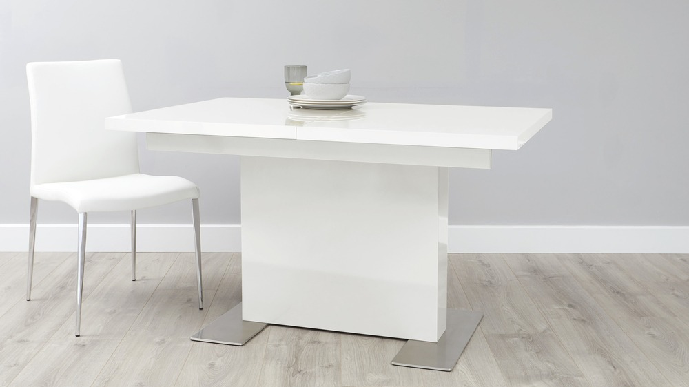 White gloss and chrome dining table