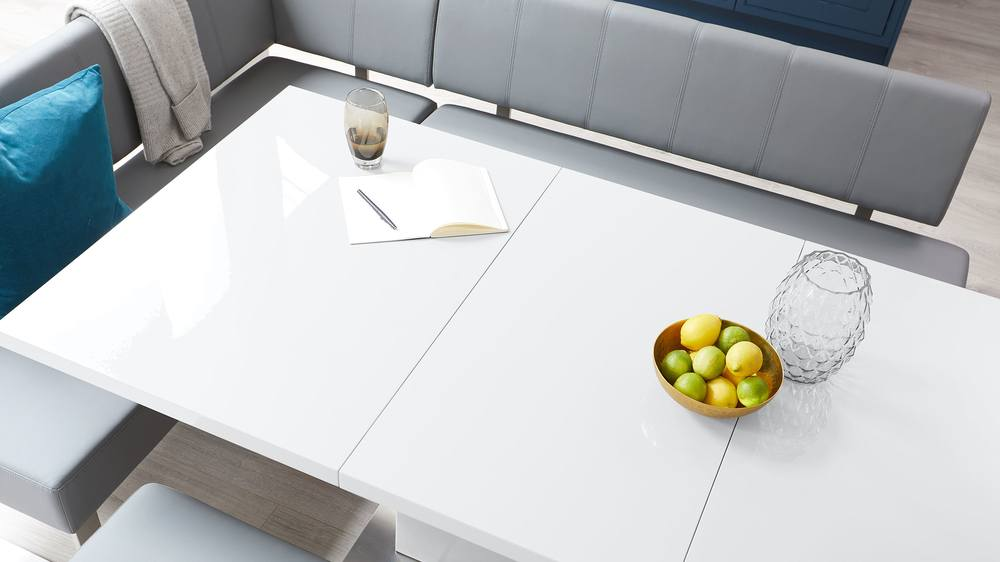 White gloss extending dining table set