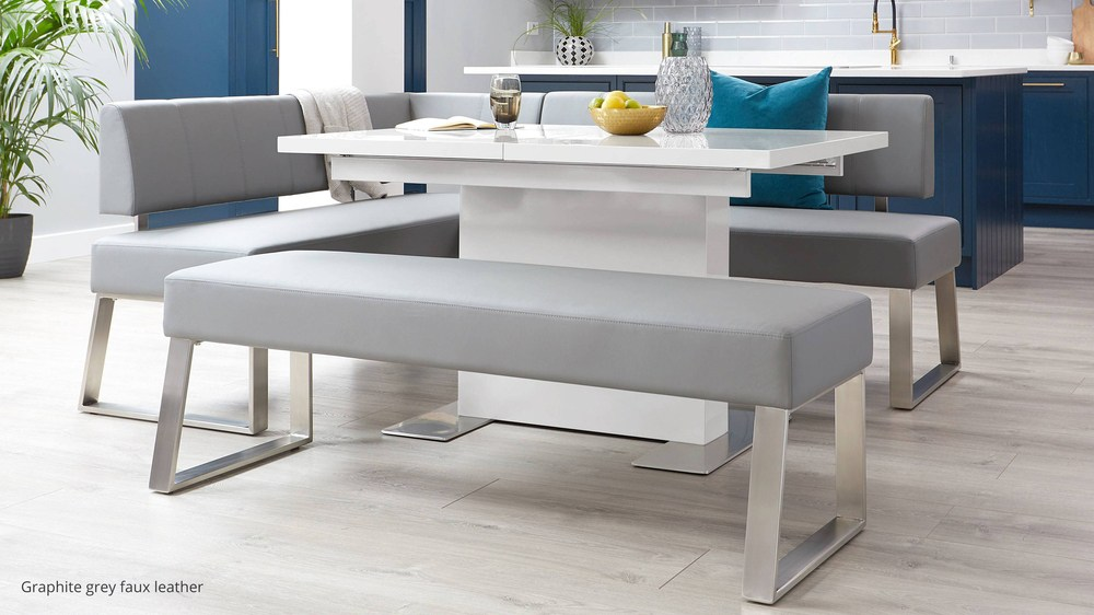 White gloss extending modern dining set