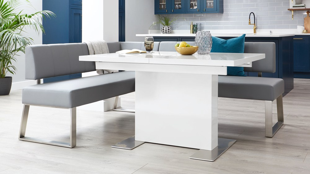 Dover large corner bench and white gloss table
