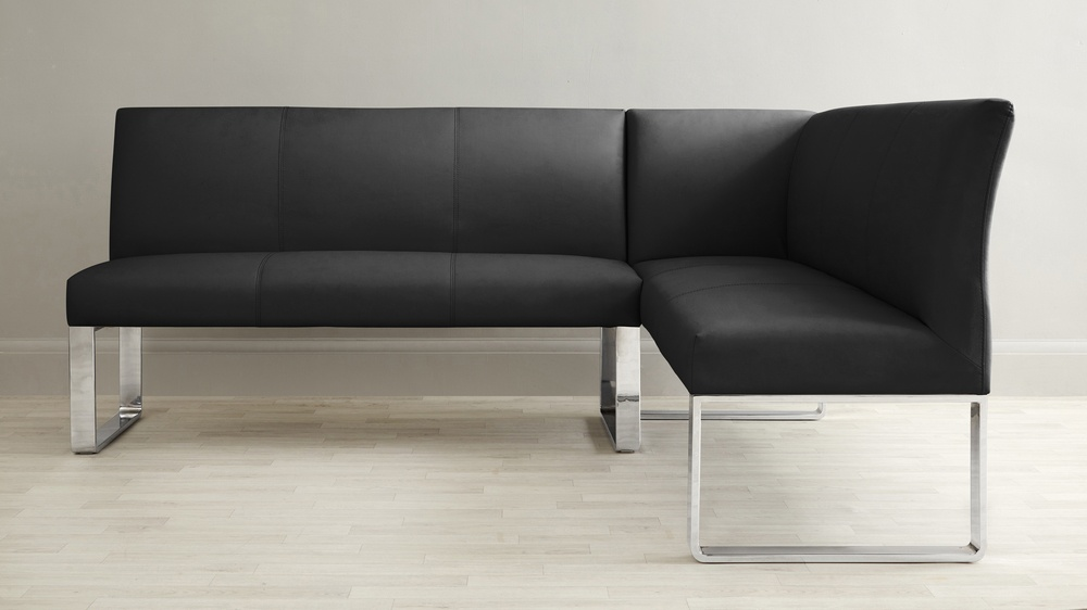 Left hand corner black leather bench