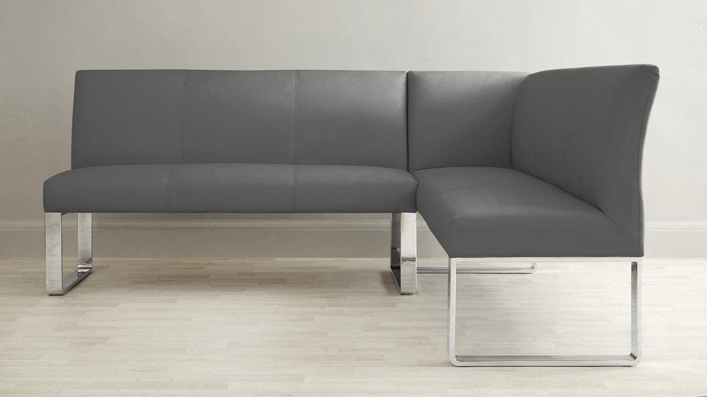Dark grey leather family bench
