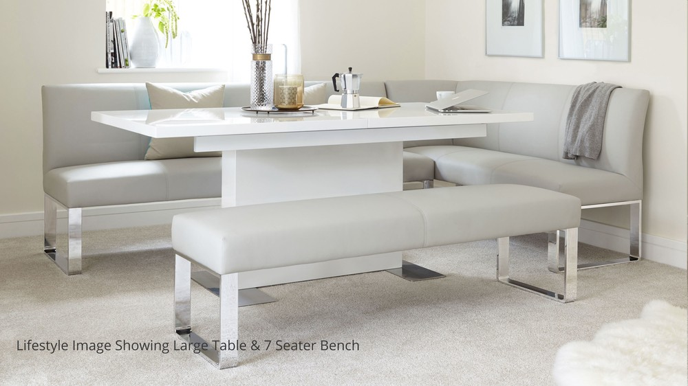 5 Seater Left Hand Corner Bench and Extending Dining Table : sanza white gloss and loop 5 seater left hand corner bench dining set 2 from www.danetti.com size 1000 x 562 jpeg 101kB
