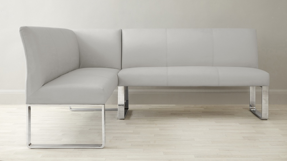 Right Hand Corner Leather Bench with Sanza White Gloss Table