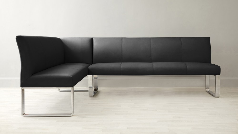 Black leather 7 seater corner bench