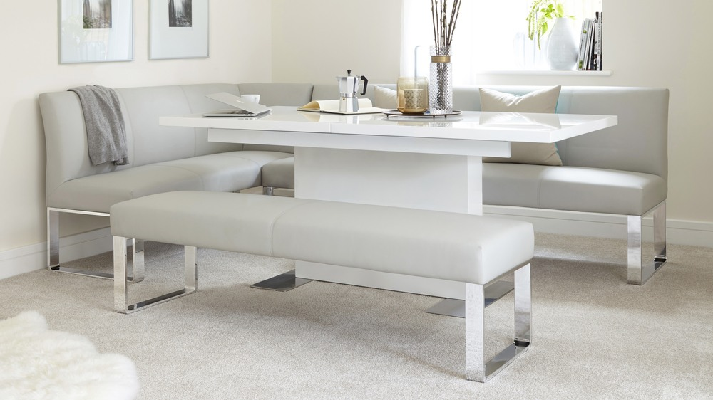 7 Seater Right Hand Corner Bench and Extending Dining Table : sanza white gloss and loop 7 seater right hand corner bench dining set 4 from www.danetti.com size 1000 x 562 jpeg 102kB
