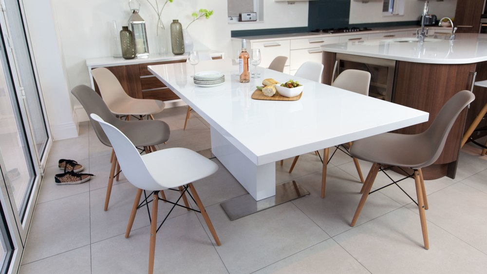 White Gloss Extending Dining Table and Eames Dining Chairs