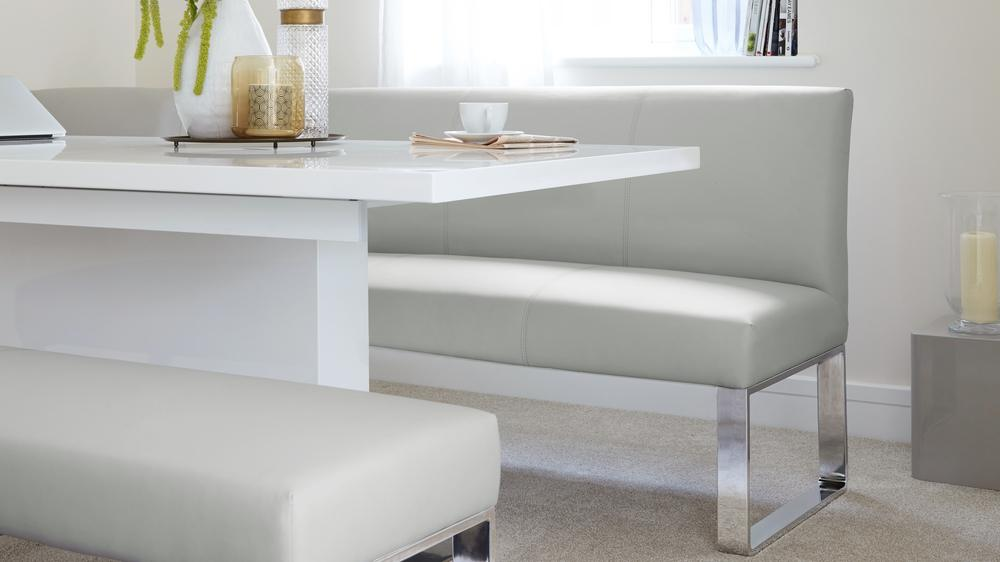 white dining bench. Sanza White Gloss Extending Modern Table Dining Bench