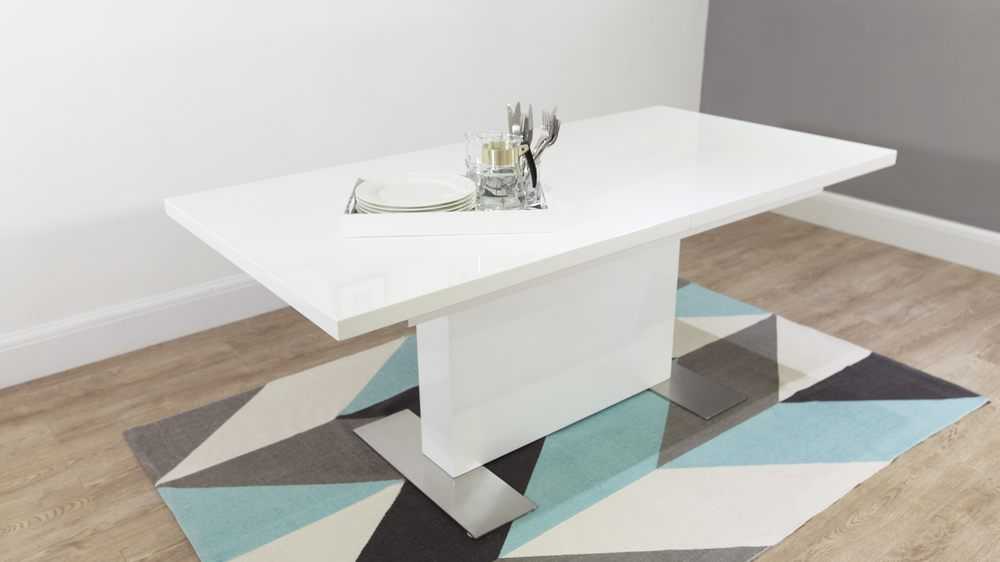 Modern Rectangular White Gloss Extending Dining Table UK : sanza white gloss extending dining table 6 from www.danetti.com size 1000 x 562 jpeg 41kB