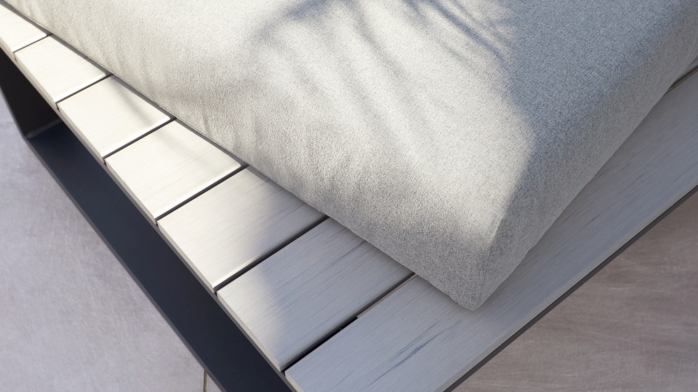 Garden bench with removable cushions