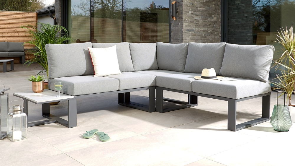 Dark grey modular garden sofa